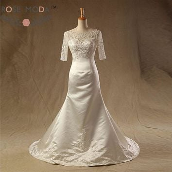 Sheer Bateau Neck Half Sleeves Fitted A Line Wedding Dress Embroidery V Back Bridal Gown Vestidos de Noiva 1962
