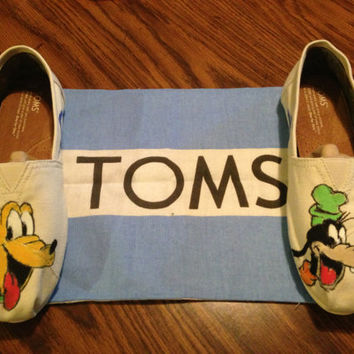 Pluto Goofey Disney Toms Custom Painted by TheOpenCanvas on Etsy