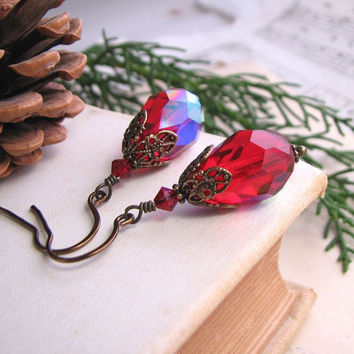 Holiday jewelry Christmas earrings with vintage by shadowjewels