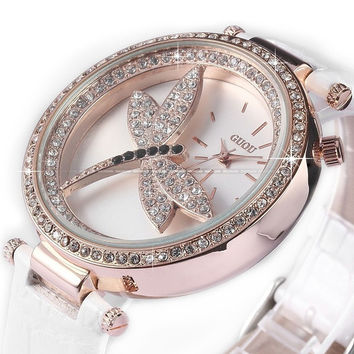 GUOU Bling Crystal Dragonfly Women Lady Girl White Genuine Leather Quartz Watch = 1956615108