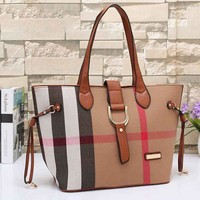 Burberry Women Shopping Bag Leather Satchel Handbag Tote Shoulder Bag
