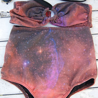 Special new high waist bikini galaxy top with galaxy bottoms women fashion