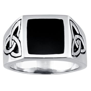 Metro Jewelry Stainless Steel Celtic Knot Ring Black Resin Center