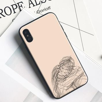 Minimalist line couple hand painting coque TPU soft silicone Phone Case For Apple iPhone 5 5s Se 6 6s 7 8 Plus X XR XS MAX