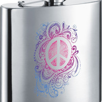 Visol Peace Filigree Stainless Steel 6oz Hip Flask