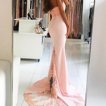 Sexy Halter Beaded Lace Peach Mermaid Evening Dress Party Elegant 2017 Long Evening Gowns Formal Dre