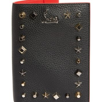 Christian Louboutin Loubipass Empire Studded Leather Passport Case | Nordstrom