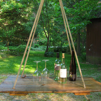 HANGING TABLE- Repurposed Old barn wood hay DOOR- Home Decor, Wedding Decor, Wood Store Display