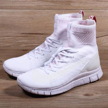 Nike Free Flyknit Mercurial Superfly White/Pure Platinum-University Red Running Shoes