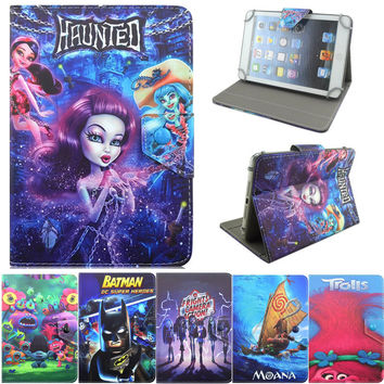 "Batman Monster High Elf Trolls Monster haunted Cute Cartoon PU Leather Stand Cover 7"" Universal 7 inch Tablet Case Funda Coque"