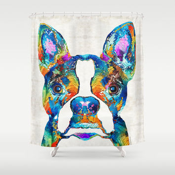 Colorful Boston Terrier Dog Pop Art - Sharon Cummings Shower Curtain by Sharon Cummings