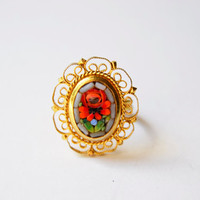 ring vintage golden mosaic