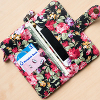 FLOWER IPHONE 6 WALLET Black Vintage Floral Card Holder Pouch Sleeve Bag Purse Samsung Galaxy S3 Galaxy S4 Note 2 Note 3 iPhone 4 4s 5 5s 5c