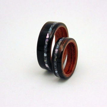 Ebony Wood Wedding Bands bubinga liner,offset Mother of Pearl inlay Bentwood method