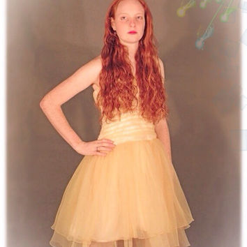 Ballerina party dress / Champagne crimped organza tulle 1960s sheer gauze gown // Ruched fitted bodice / halter neck