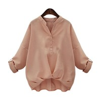2017 New Casual Blouse Shirt Women Tops Long Sleeve Cotton V-neck Button Blusas OL Loose Batwing Sleeve Blouses Plus Size M-4XL