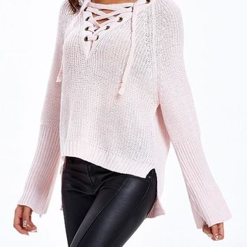 Pink Plain Drawstring Irregular V-neck Casual Pullover Sweater