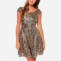 Gold Sequin Short-Sleeve Dress