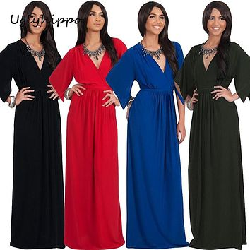 Women's Half Sleeve V Neck Evening Party Plus Size Maxi Dress Female Dress Pregnant Dress Maternity Clothes MO69