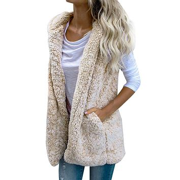 Warm Winter Vest - Faux Fur Zip Up Jacket
