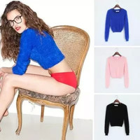 Plain Long-Sleeve Knitted Crop Tank Sweater