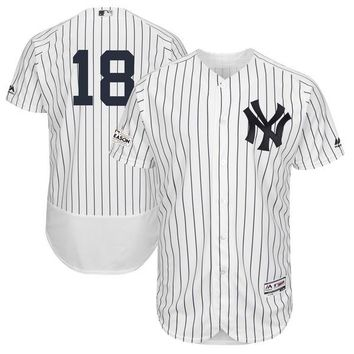 Men's New York Yankees Didi Gregorius Majestic White 2017 Postseason Flex Base Player Jersey