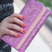 2014 New Classic explosive dual fold hollow bag Women Long Wallet lady purse card free shipping WBG0816