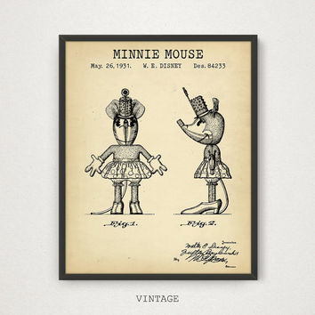 Minnie Mouse, Funny Animal, Cartoon Character Patent Print, Digital Download, Kids Room Decor, Walt Disney Poster, Play Room Wall Art, Gifts