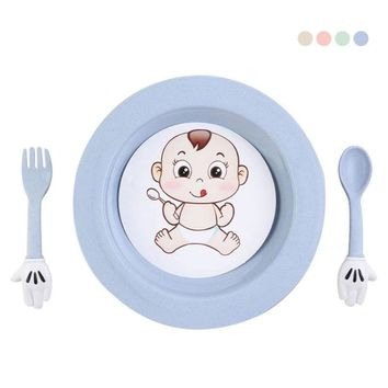 Cute Baby pattern Wheat straw children 's tableware dish Fork Set Gift for Child Dinnerware set 15
