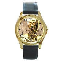 """Star Wars """"C3PO""""  White Background on a Gold Round Watch with Leather Bands"""