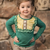 Persnickety Emerald Pine Lou Lou Top for Girls PREORDER