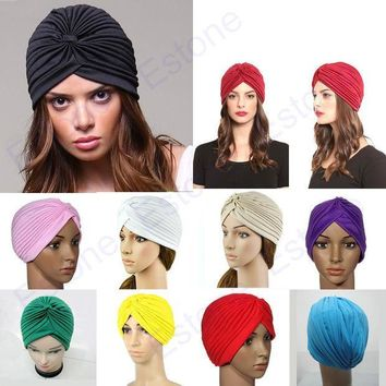 PEAPUNT Stretchy Turban Head Wrap Band Sleep Hat Chemo Bandana Hijab Pleated Indian Cap