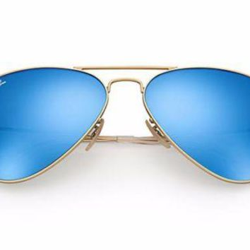Cheap RayBan Gold Rim, Blue Lens Mirrored Aviator Sunglasses outlet