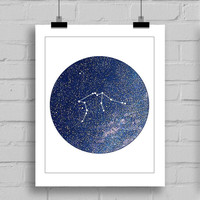 Aquarius Constellation Wall Art Print - Zodiac Themes Printable Home Decor Wall Art (JPG/PDF) 8x10