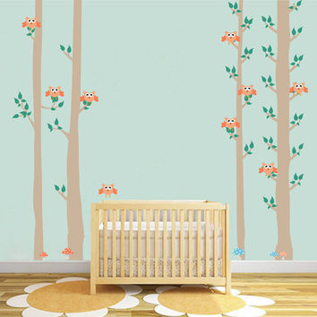 kcik1682 Full Color Wall decal bedroom children's Custom Baby Nursery tree nusery decal tree forest owl birds baby girl