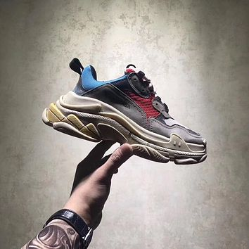 BALENCIAGA WOMEN'S TRIPLE-S SNEAKER DAD SHOE YELLOW GRAY RED BLUE