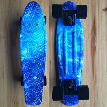 "Plastic Mini Cruiser 22"" Skateboard  Retro Longboard Skate Board galaxy Graphic Girls Boys"