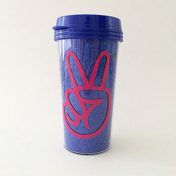 Peace Glitter Travel Mug
