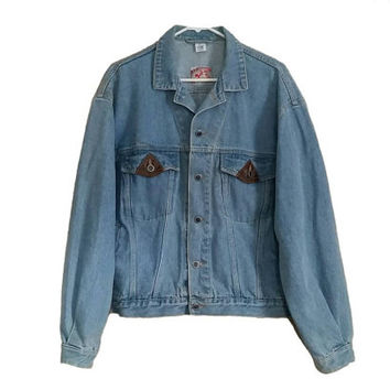 Vintage Denim Jacket • Size MEDIUM • Light Wash Denim Jean Jacket • Old School Denim Coat with Leather Pocket Detail • 80s Denim • 90s Denim