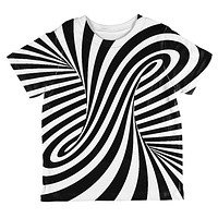 Trippy Black And White Swirl All Over Toddler T Shirt