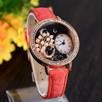 Women's Fashion Stylish Rhinestones Pearl Peacock Leather Quartz Watch
