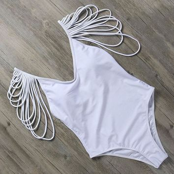 Layered Shoulder One-Piece Swimsuit
