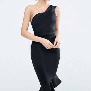 One Shoulder Asymmetrical Ruffled  Bandage Dress