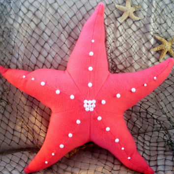 Coral 3 dimensional starfish pillow with beaded accents, nautical decor,sealife,throw pillow,seashore decor,hand beaded,ocean decor,beach