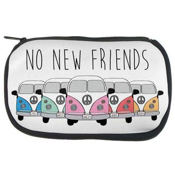 PEAPGQ9 Hippie Van No New Friends Bus Camper Makeup Bag