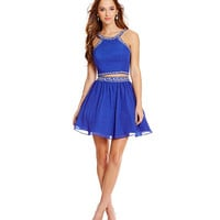 B. Darlin Two-Piece Beaded Trim Party Dress | Dillards