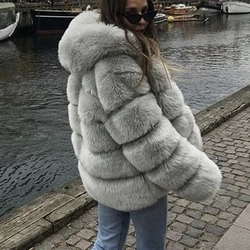 New Light Grey Fuzzy Faux Rabbit Fur Hooded Thick Warm Long Sleeve Casual Outerwear