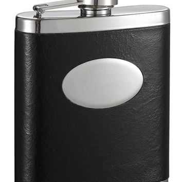 Visol Joey Stainless Steel Leather Wrapped Hip Flask with Engraving Plate - 7 oz