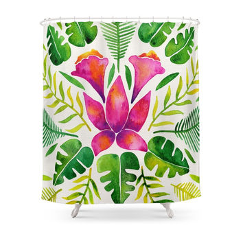 Society6 Tropical Symmetry – Pink & Green Shower Curtains