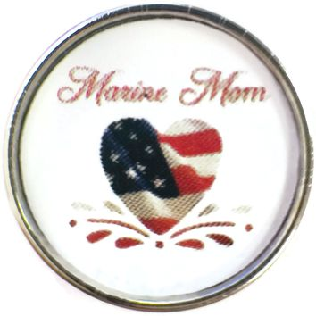 Marine Mom with USA Flag in Heart Support Our Troops 18MM - 20MM Snap Charm